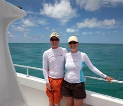 Galen and Nicole in snorkeling rash guards