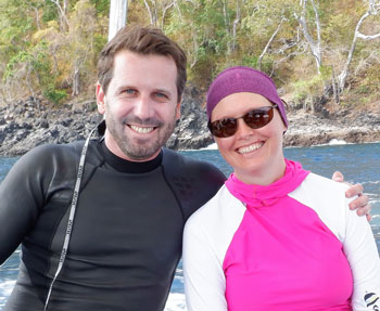 Ben and Nicole heading out on the snorkel boat in Alor, Indonesia.