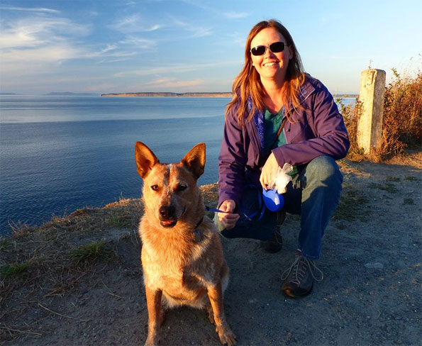 Nicole and Ginger at our favorite viewpoint in the neighborhood.