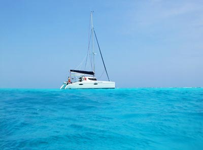 The sailboat we chartered in Belize.