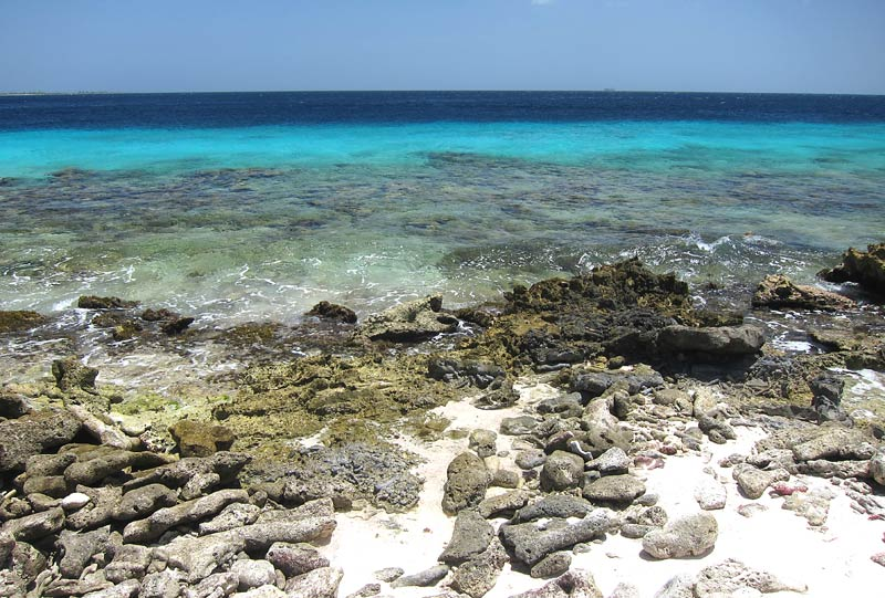 Typical Iron-Shore Water Entrance On Bonaire
