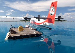 Sea planes are one of the common ways to travel in this island nation.