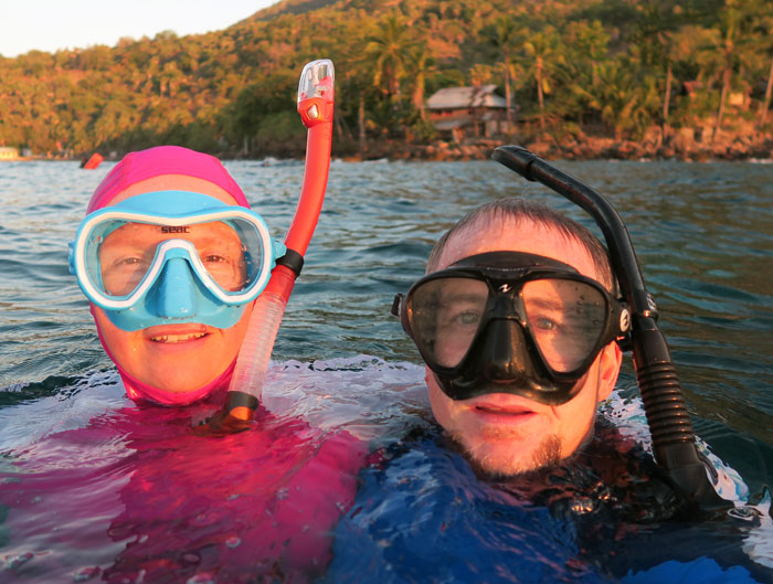 There we are in Indonesia, using our personal favorite snorkels.