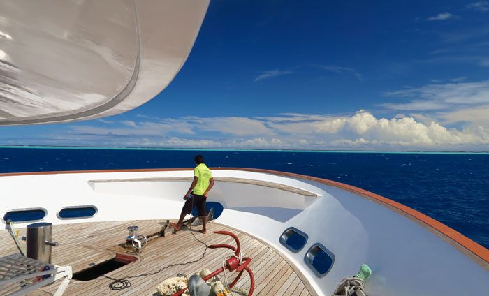 The bow deck of our Maldives snorkeling liveaboard.