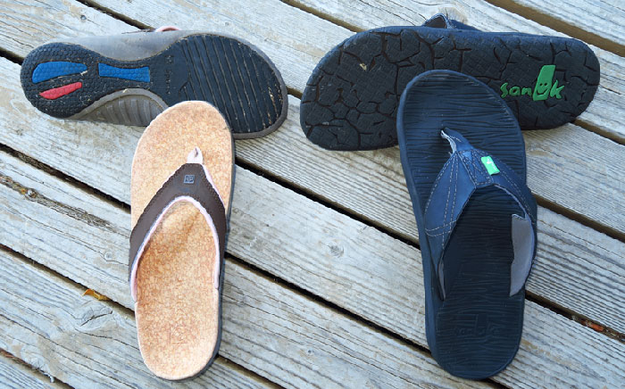 Our snorkeling shoes, sturdy flip flops.