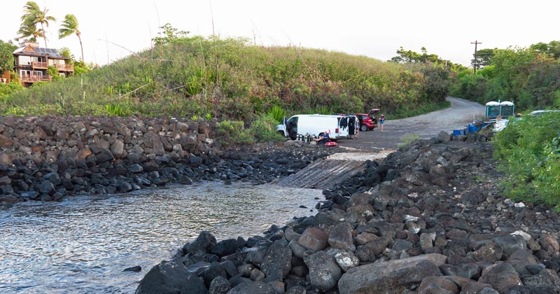 Boat Ramp Water Entrance and Lower Parking Area for Snorkeling Koloa Landing