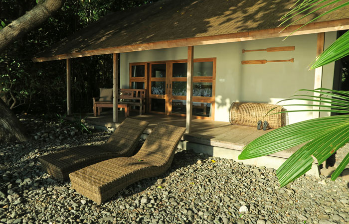 Our waterfront cottage at Alami Alor. It had air-conditioning and an open-air bathroom.