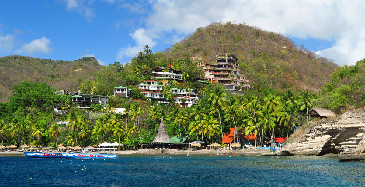 Anse Chastanet and Jade Mountain Resorts from the water.