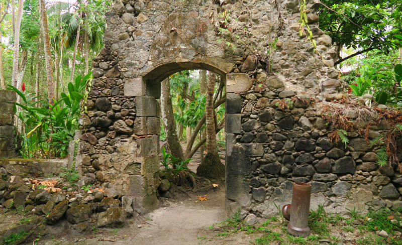 You can take a guided hike through the ruins of the historic sugar cane plantation of Anse Mamin.