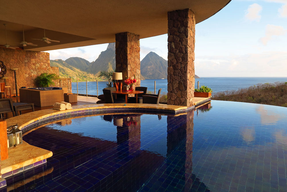 The amazing open air rooms at Jade Mountain have unobstructed views of the Pitons and most have their own infinity pool.