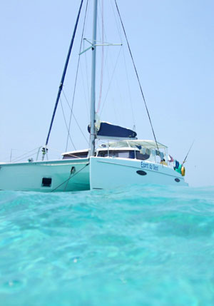 The boat we lived on for a week, sailing and snorkeling Belize.