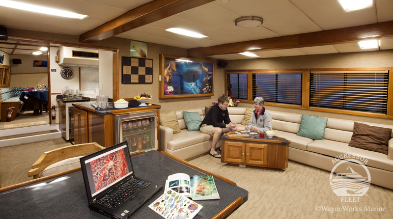 Belize Aggressor III's spacious lounge.