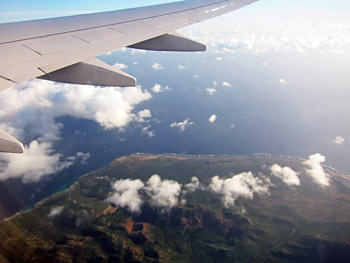 Looking down at Bonaire from our flight.