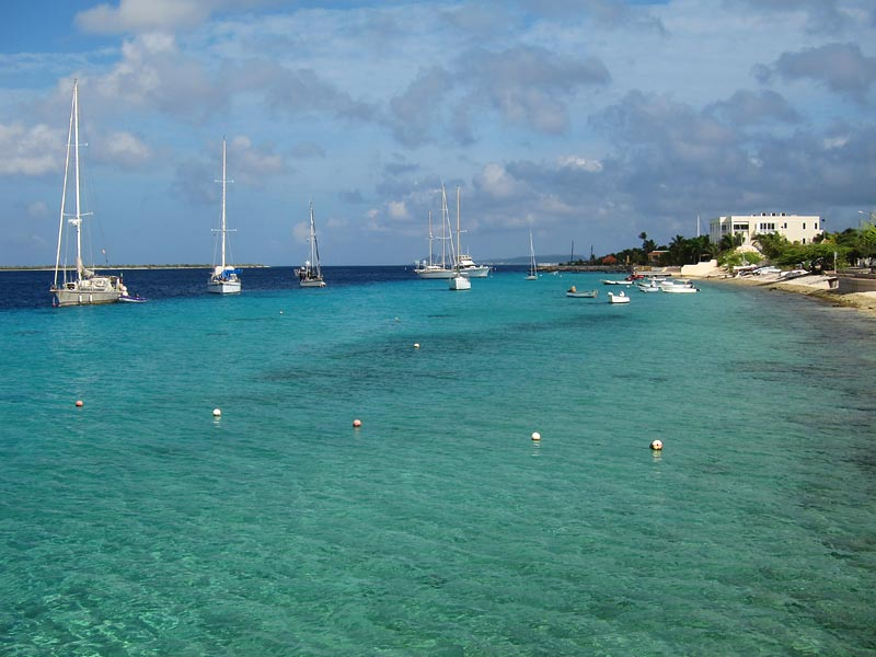 Sailboats along the Bonaire coastline.