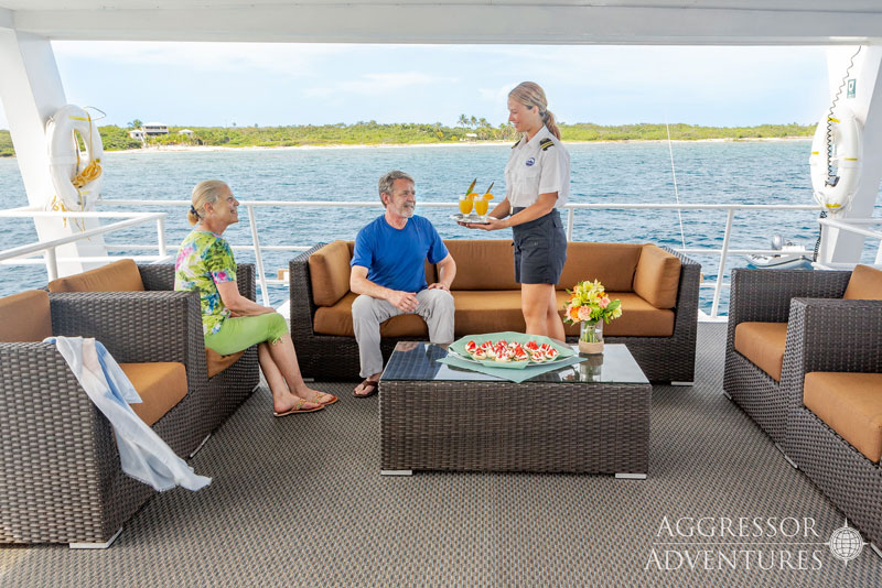 Covered cocktail deck on the Cayman Aggressor V.