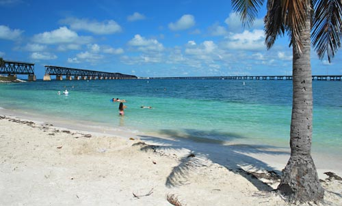 Beach and Old Bridge at Bahia Honda State Park