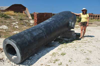 Nicole's impressed with the big cannon