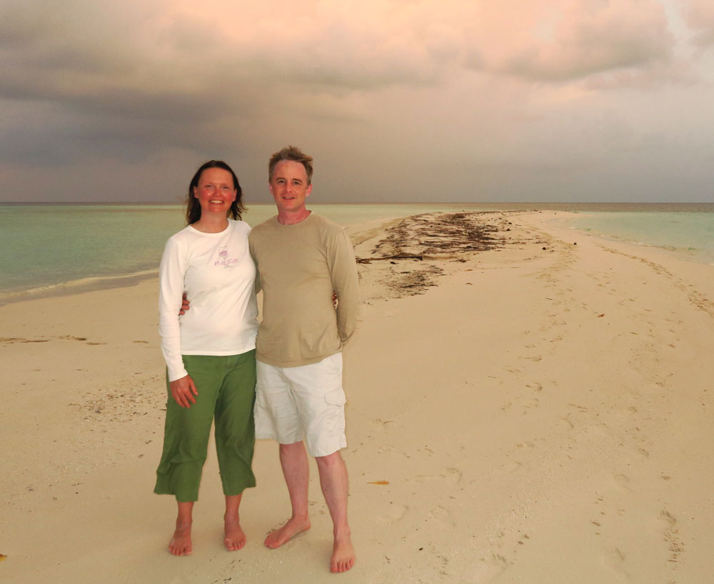 Nicole & Galen on a very remote island in the Maldives.