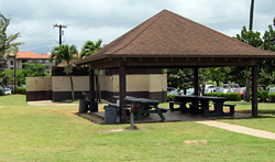 Picnic tables, pavilion & restrooms at Poipu Beach Park