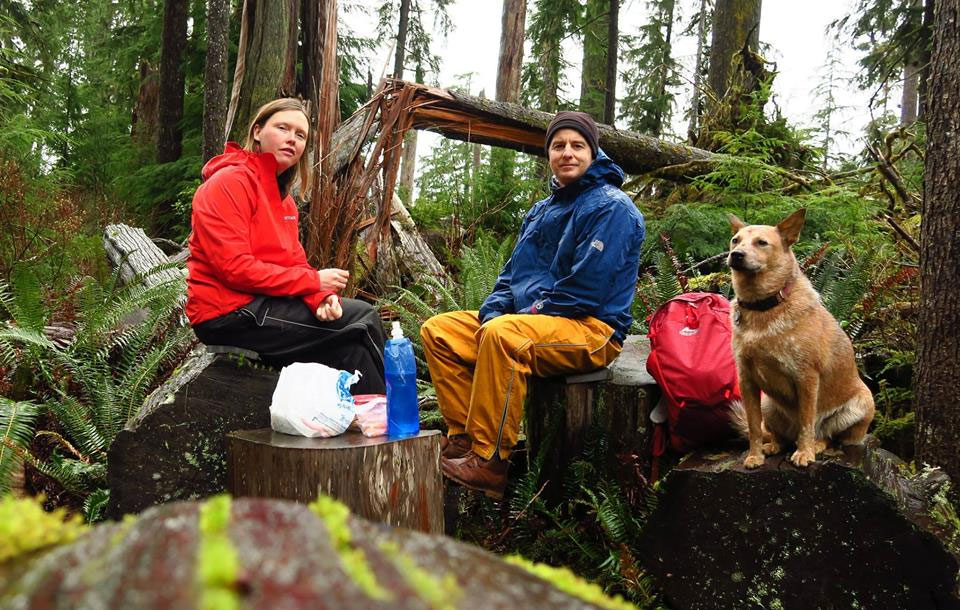 Galen, Nicole & Ginger stopping for lunch on a hike in the mountains of the Pacific Northwest.