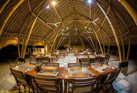 This open air bamboo restaurant is where you will eat your meals at Komodo Resort.
