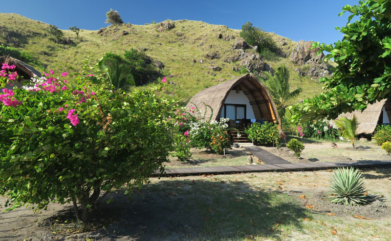The individual bungalows are comfortable and on the beach at Komodo Resort.