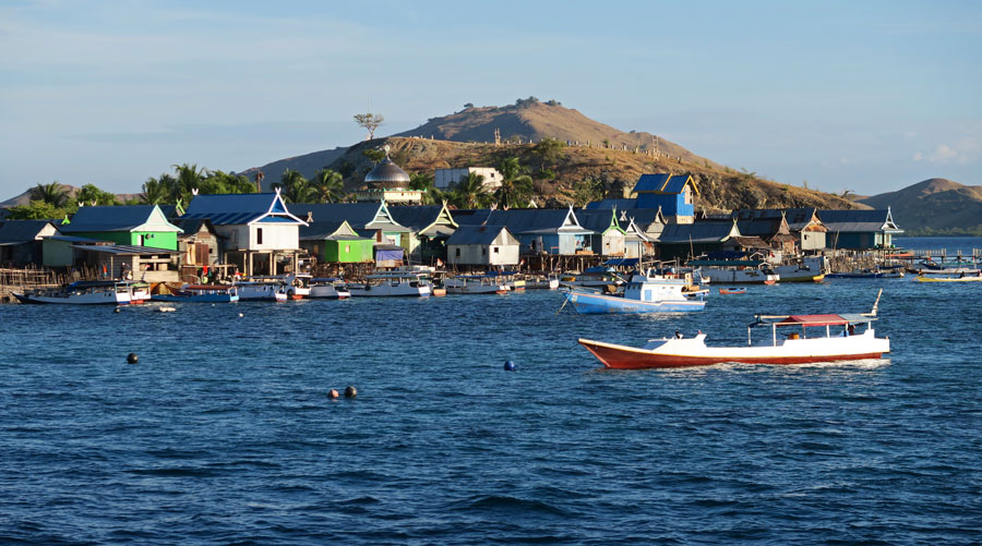 Colorful Komodo fishing village with its mosque.
