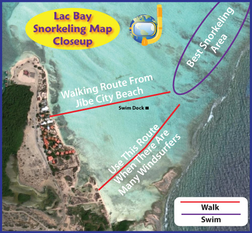 Lac Bay Walk To The Snorkeling Map