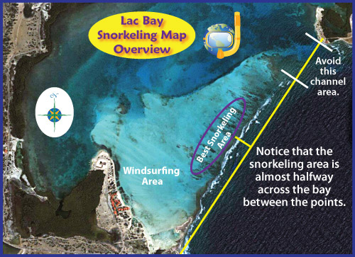 Lac Bay Snorkeling Map