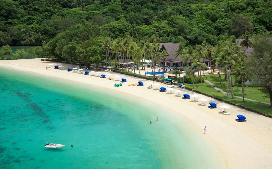 Stunning white sand beach at Palau Pacific Resort. You can enjoy the house reef and a half day boat snorkel charter to nearby reefs during your stay.