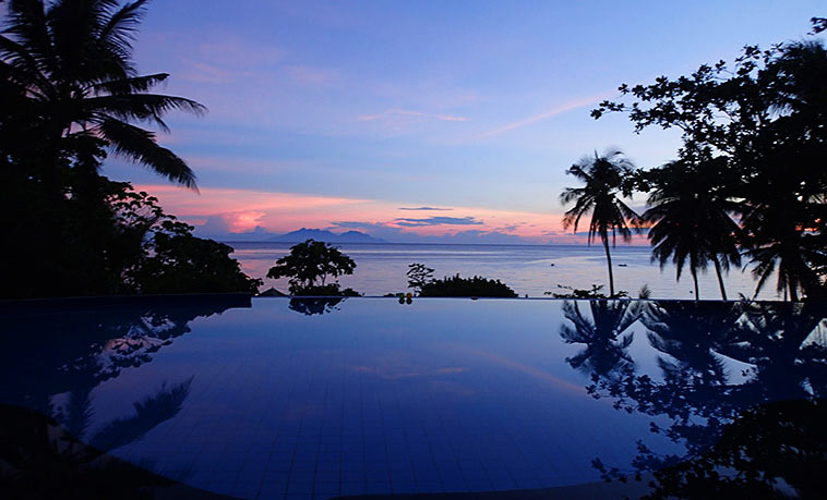 The infinity pool at Amun Ini Resort.