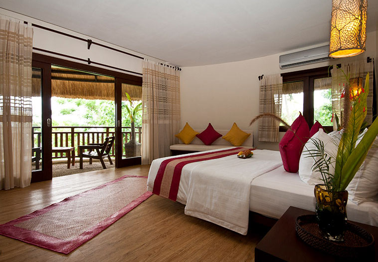 Your accommodations at the Amun Ini Resort. There is a king bed or twin beds option.