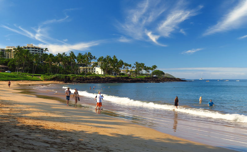 Snorkel from beautiful sandy beaches on Maui.