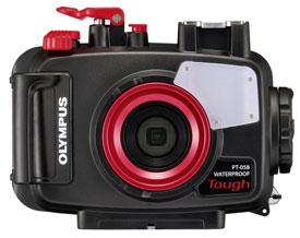 Olympus PT-058 Housing for the TG-5 snorkeling camera, front view.