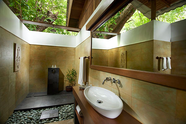 Your Siladen accommodation comes with an open air bathroom.
