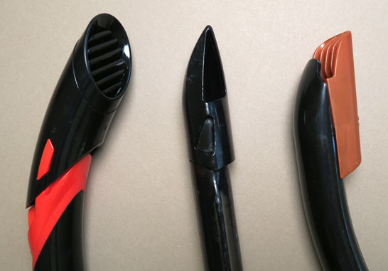 Different types of splash guards on snorkels. We prefer smaller ones that present less resistance underwater and in wind.