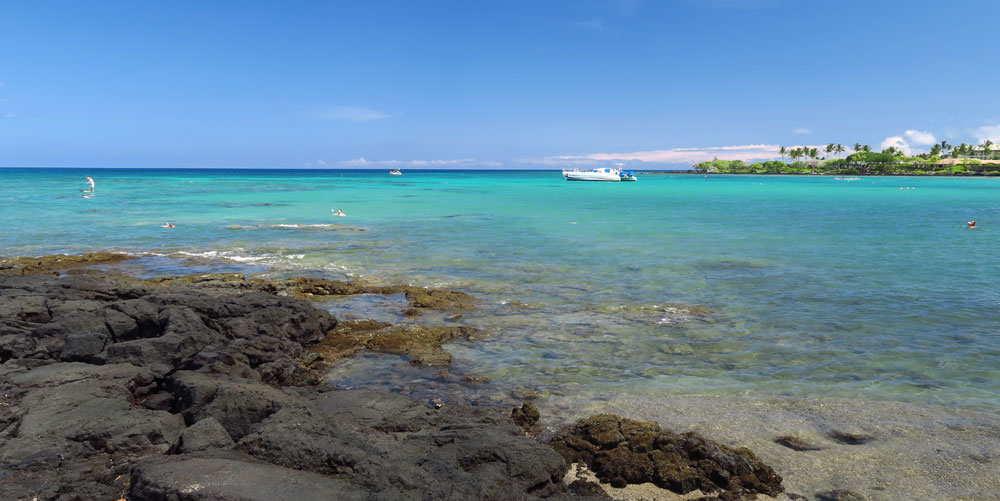 The visibility is usually bad for snorkeling Anaehoomalu Bay.
