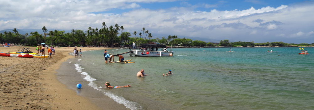 There are paddleboats, kayaks, stand up paddleboards, etc. rented by the Waikoloa Beach Resort on A-Bay. Watch for novice users of these craft so you don't get run over while snorkeling.