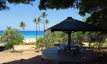 There many useful facilities at Hapuna Beach, including shaded picnic tables.
