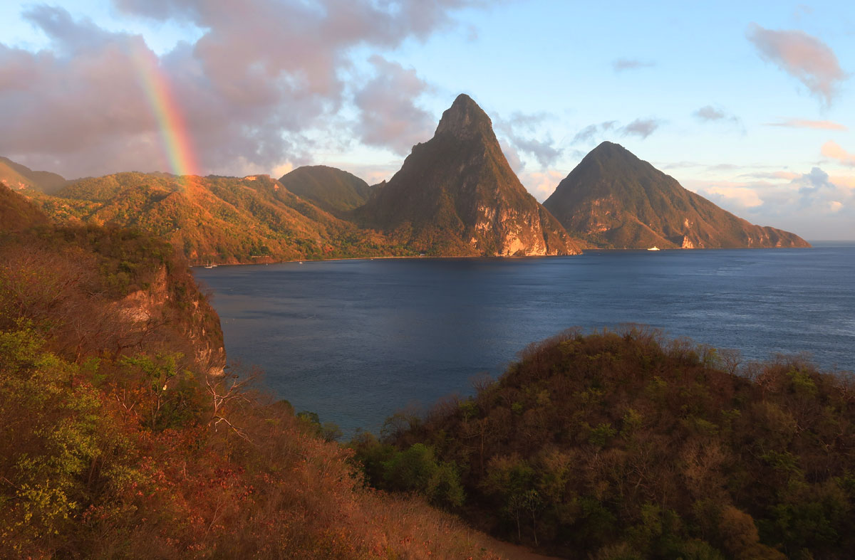 St Lucia's iconic Pitons tower above some very good snorkeling spots.