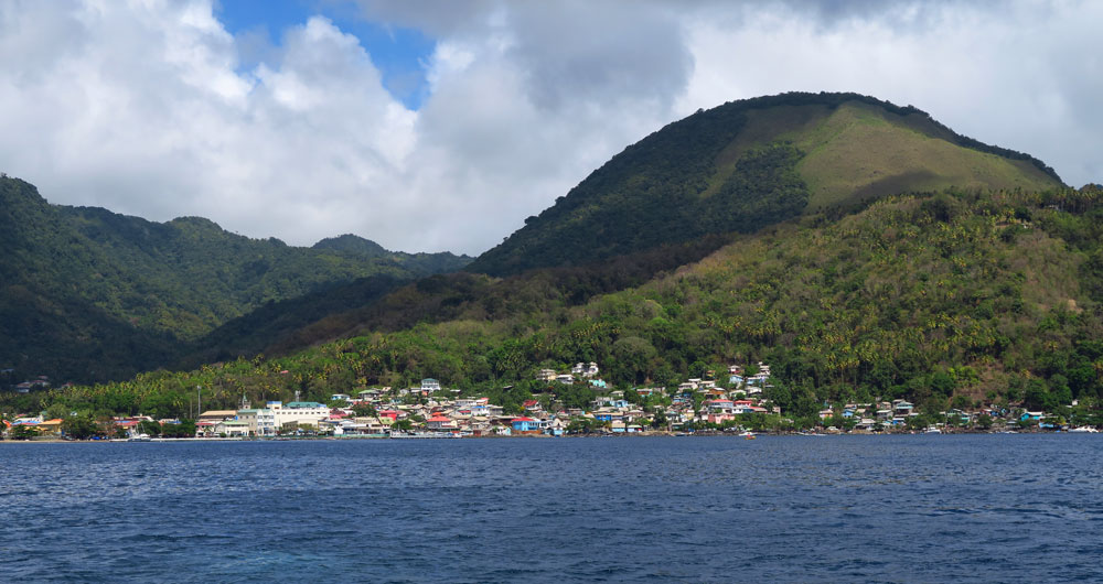 Soufriere, St Lucia from the water.