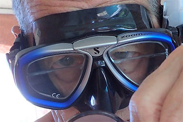 My purchased prescription mask with top bifocal magnifiers.