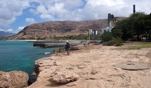 Look over the bluff edge before snorkeling Kahe Point