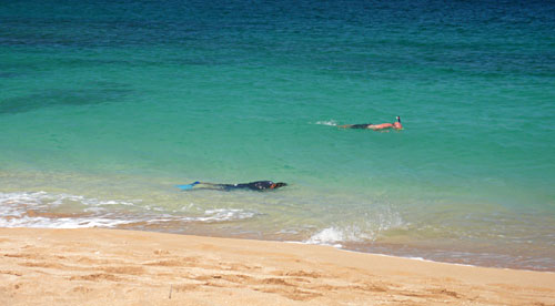 Water Entrance and Snorkelers at Sunset Beach