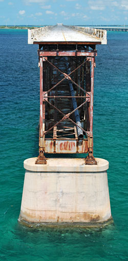 View across old broken bridge at Bahia Honda State Park