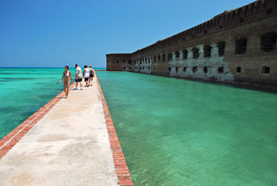 Watch snorkelers from the moat wall at Dry Tortugas