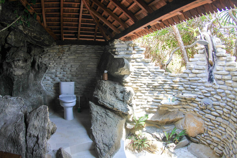 Open air bathrooms are in every accommodation.