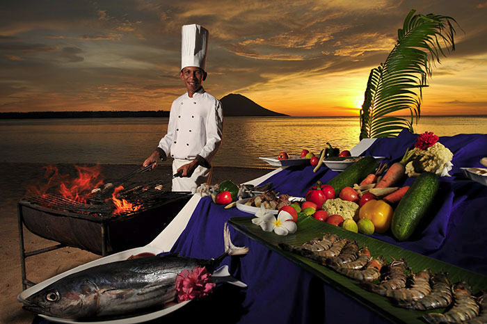 Fresh seafood and produce on the menu at Siladen Resort.