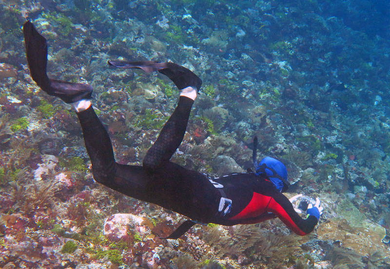 Galen wearing his Seawing Novas in Alor, Indonesia. This pictures shows how the fin hinges when flexing.