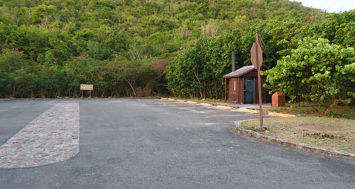 Parking lot and pit toilet at Leinster Bay